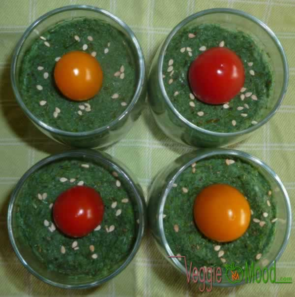 Verrines de Mousse brocoli à la spiruline