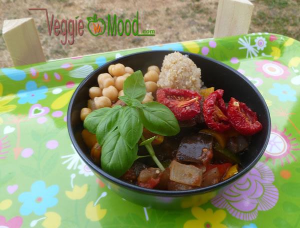 Ratatouille froide de légumes croquants en gelée et pois chiches