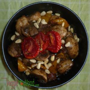 Recette salade champignons, tomates et poivrons jaunes