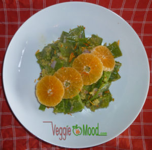 recette salade haricots plats sauce mandarine-gingembre