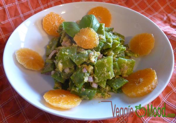 Salade haricots plats sauce mandarine-gingembre