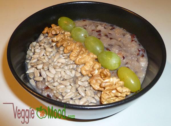 Porridge aux flocons d'azukis aux saveurs d'automne (poire et chataignes)