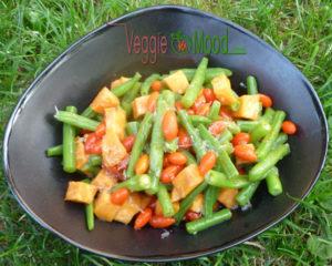 Recette salade de haricots verts, patate douce et goji