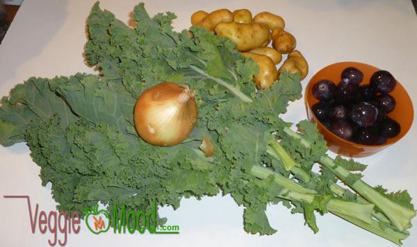 Ingredients de la poêlée de rattes du Touquet au chou kalé, raisins et noix