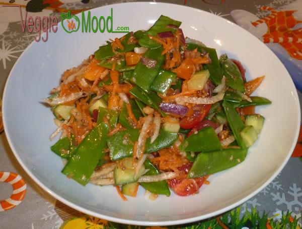 Recette Salade de pois goumands sauce piquante au sésame façon Thaï