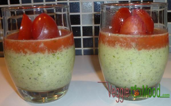 Recette verrines concombre-tofu soyeux en gelée de tomates cerises