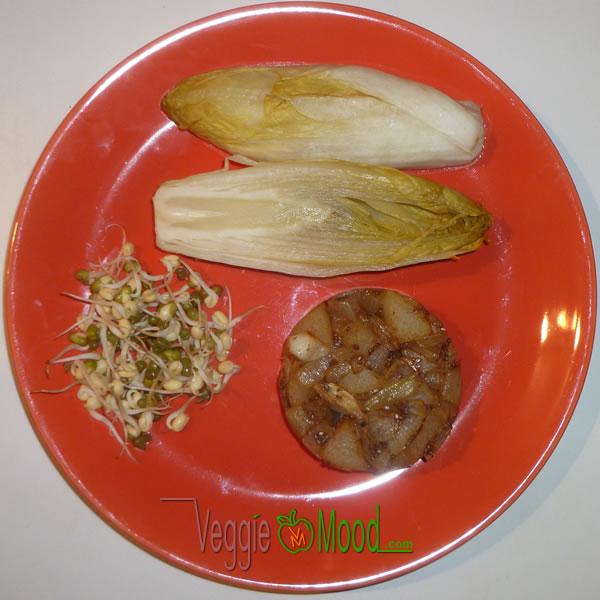 Ingrédients chicons vapeur et sa compotée poire oignons