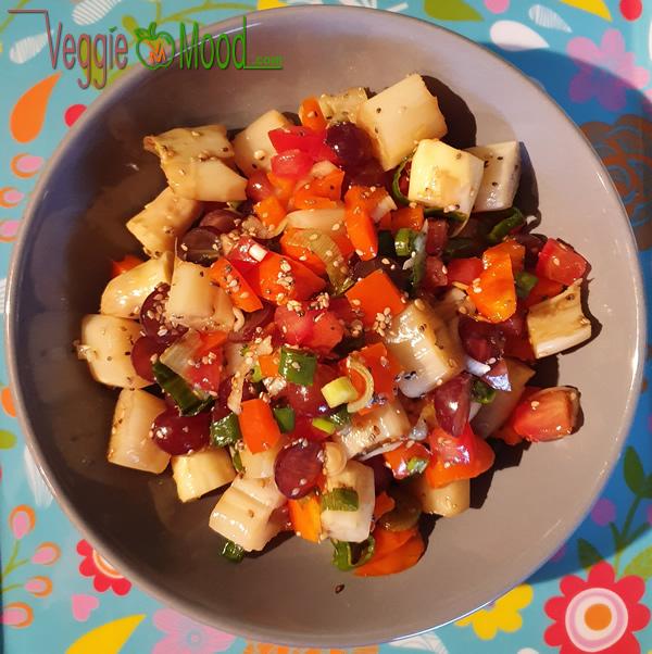 Salade d'asperges, vinaigrette au sésame