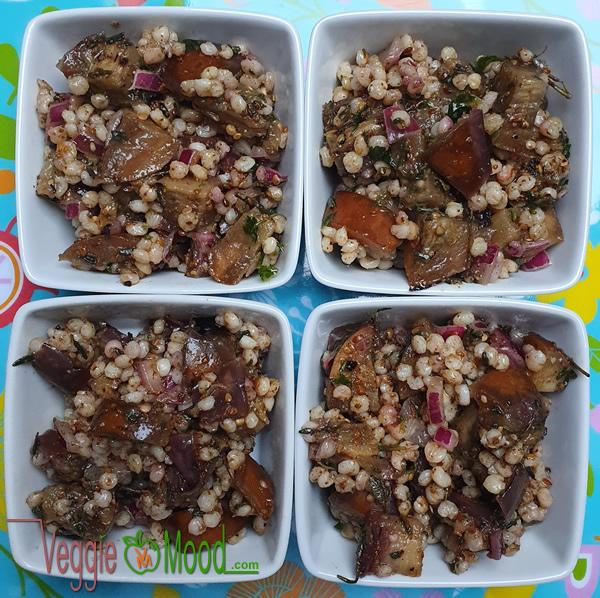 Ingrédients verrines aubergines grillées et sorgho, aux épices et herbes fraîches