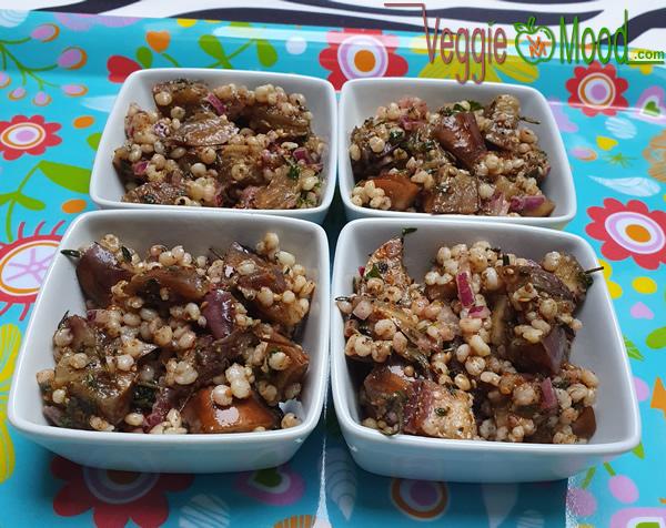 Recette verrines aubergines grillées et sorgho, aux épices et herbes fraîches