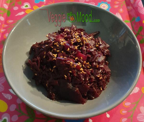 Ingrédients compotée chou rouge-mangue, épices et miso