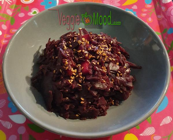 Recette compotée chou rouge-mangue, épices et miso