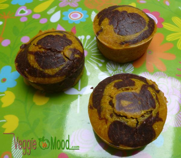 Recette muffins marbrés curcuma et cacao