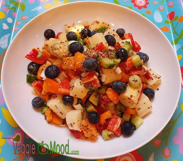 Ingrédients salade d'asperges et myrtilles, sauce au sirop d'érable