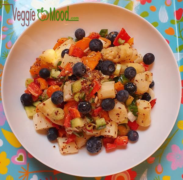 Recette salade d'asperges et myrtilles, sauce au sirop d'érable