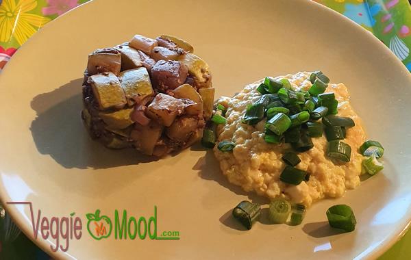 Tofu brouillé et timbale de légumes du soleil