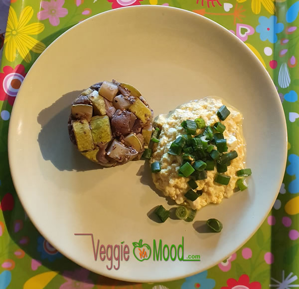 Recette tofu brouillé et timbale de légumes du soleil