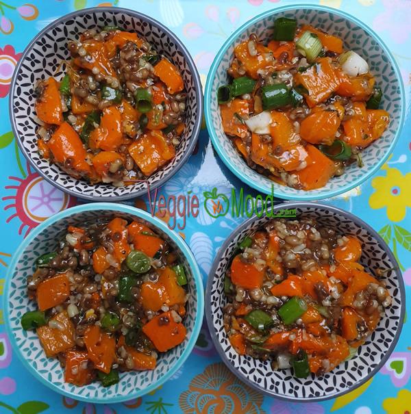 Verrines de poivrons oranges et moth beans