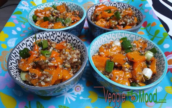 Recette verrines de poivrons oranges et moth beans
