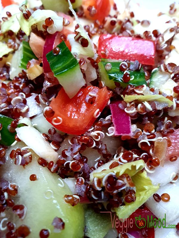 Ingrédients salade de quinoa, chicons et melon