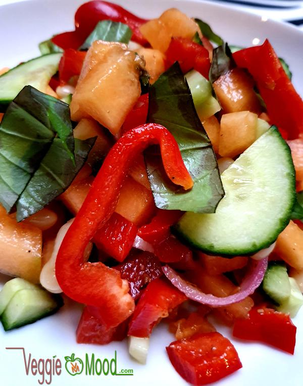 Recette salade de haricots coco et melon au basilic