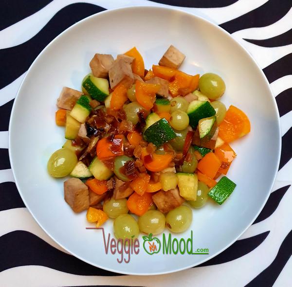 Tofu et raisins caramélisés au gingembre