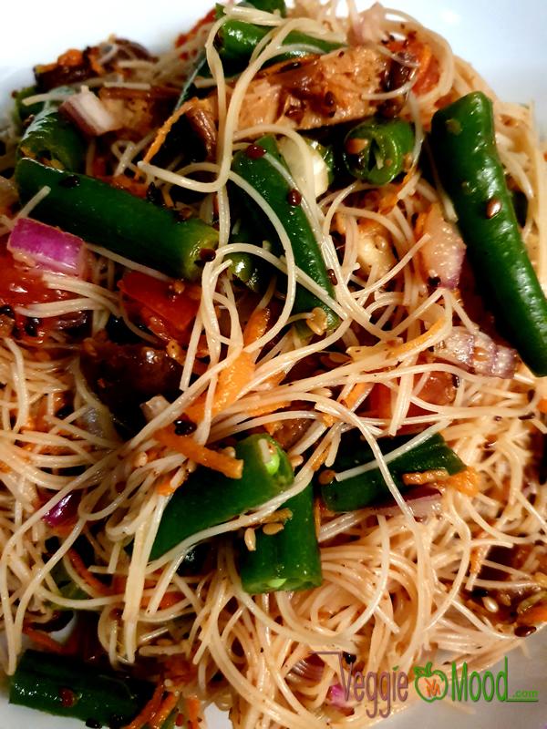 Recette salade de haricots verts et vermicelles de riz à la japonaise