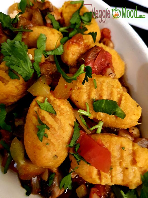Gnocchi de patate douce aux légumes du soleil