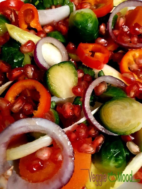 Salade de patate douce et choux de Bruxelles à la grenade