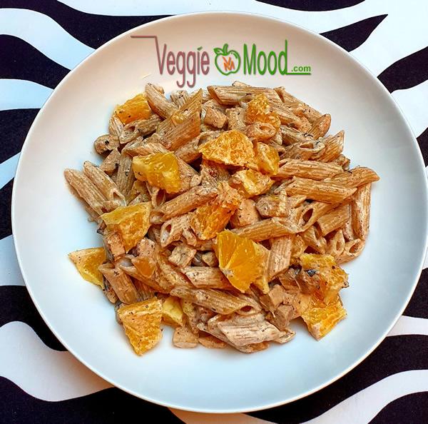 Recette penne au tofu caramélisé et oranges